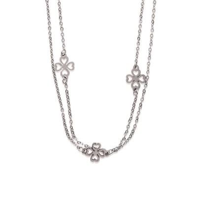 collier en acier inoxydable pour femme, motifs trèfles - Bijoux femme
