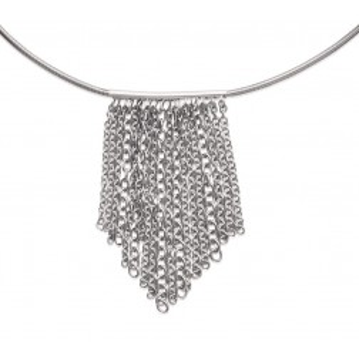 Collier ras-de-cou et large pendentif en acier pour femme - Edena - Lyn&Or Bijoux