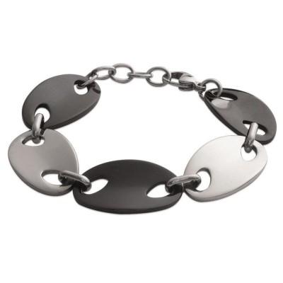 Bracelet en acier bicolore noir & gris pour femme, Glamour