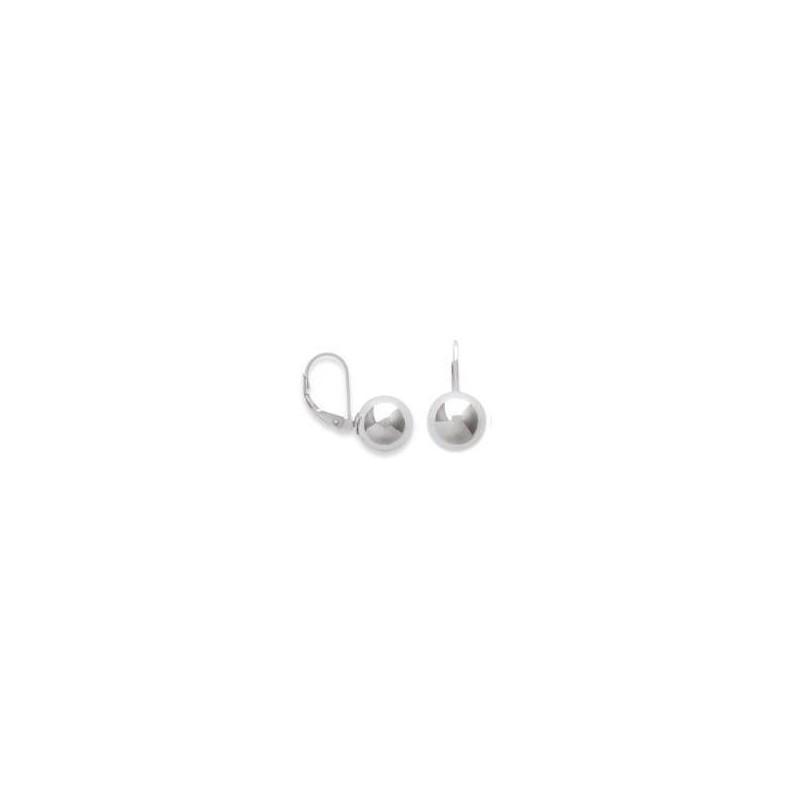 Boucles d'oreille femme, dormeuses & perle en argent 10 mm - Ellina - Lyn&Or Bijoux