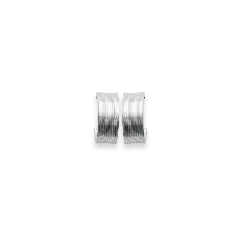 Boucles d'oreilles créoles originales en argent rhodié 925 millièmes