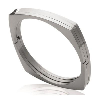 Bracelet rigide ouvert rigide pour femme en acier, Menottes
