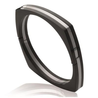 Bracelet jonc en acier noir pour femme - Menottes - Lyn&Or Bijoux