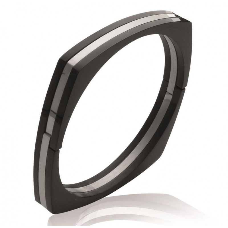 Bracelet rigide ouvert rigide pour femme en acier noir, Menottes