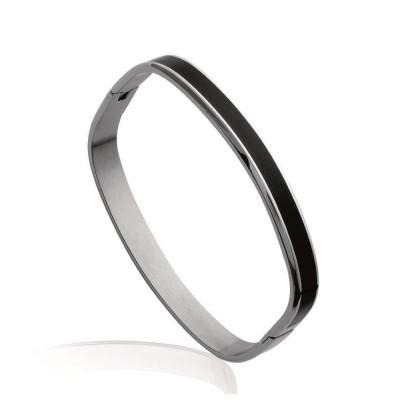 Bracelet rigide ouvert rigide pour femme en acier, émail noir, Jacinthe