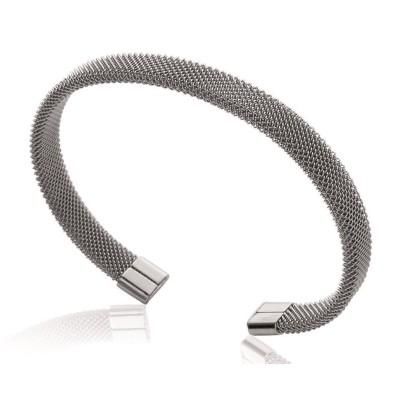 Bracelet jonc rigide pour femme en acier gris, Espyna
