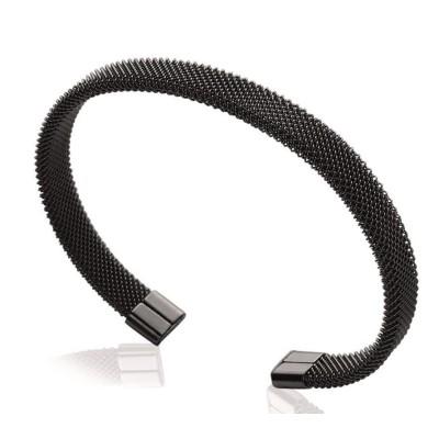 Bracelet rigide ouvert rigide pour femme en acier noir, Espyna