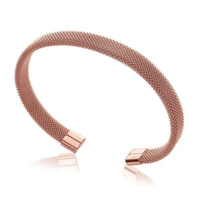 Bracelet rigide ouvert rigide pour femme en acier rose, Epsyna