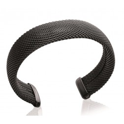Bracelet rigide ouvert rigide pour femme en acier noir, Gala