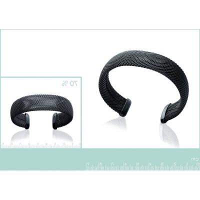 Bracelet jonc rigide pour femme en acier noir, Gala