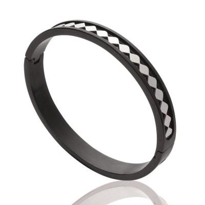 Bracelet rigide ouvert rigide pour femme en acier noir, Jouni