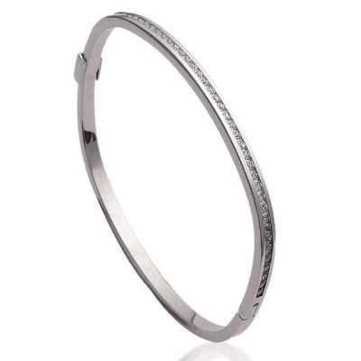 Bracelet rigide ouvert rigide pour femme en acier, zirconium, Julia
