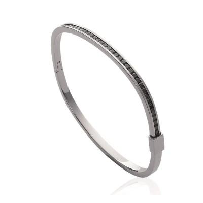 Bracelet rigide ouvert rigide pour femme en acier, zirconium noir, Triona