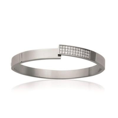Bracelet rigide ouvert rigide pour femme en acier et zirconium, Tryana