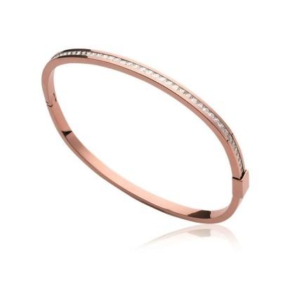 Bracelet rigide ouvert rigide pour femme en acier rose, zirconium, Constance