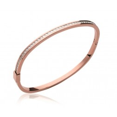 bracelet femme tendance: jonc rose en acier et zircon
