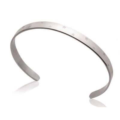 Bracelet rigide ouvert rigide pour femme en acier, Vatou