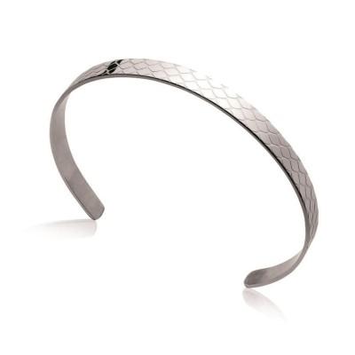 Bracelet jonc pour femme en acier gris - Via - Lyn&Or Bijoux