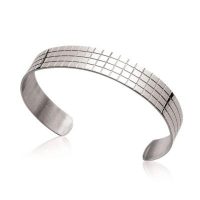 Bracelet rigide ouvert rigide pour femme en acier, Zia