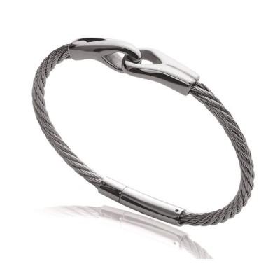 Bracelet homme, câble en acier gris - Lyn&Or Bijoux