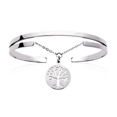 Bracelet rigide ouvert rigide pour femme en acier Arbre de Vie, Cavalla