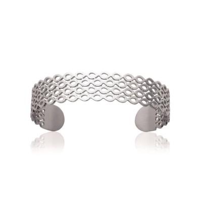 Bracelet jonc rigide pour femme en acier, Vogue