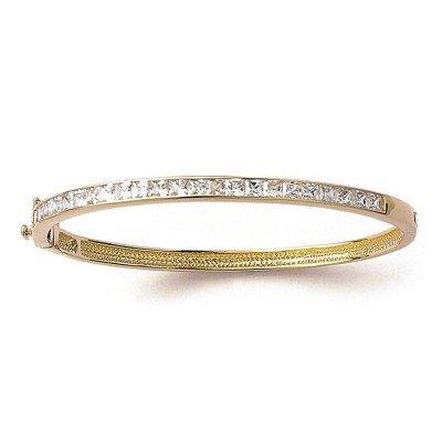 Bracelet femme, jonc plaqué or & oxyde de zirconium, Angèle - Lyn&Or Bijoux