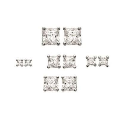 Boucles d'oreilles puce pour femme en argent 925 et zirconia carré