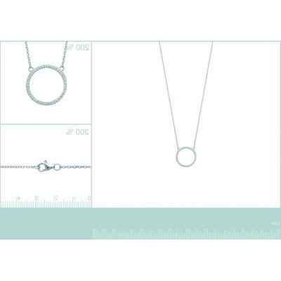 collier pour femme en argent et zirconium, avec pendentif cercle