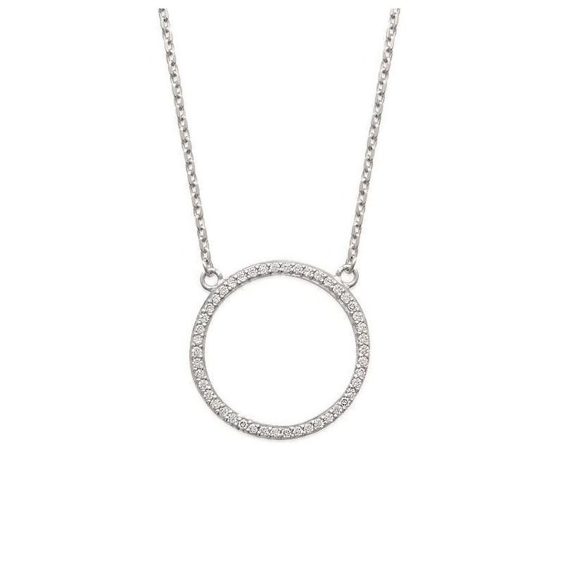 Collier en argent et zirconium, avec pendentif cercle
