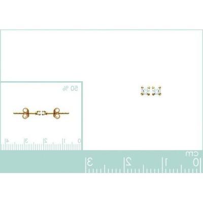 Boucles d'oreille puce plaqué or, zircon solitaire, Mon brillant