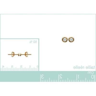Boucles d'oreille puce en plaqué or 925 pour femme, Just Strass