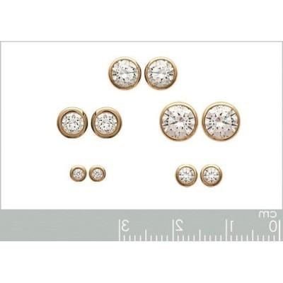 Boucles d'oreilles zirconium et plaqué or pour femme, Shiny