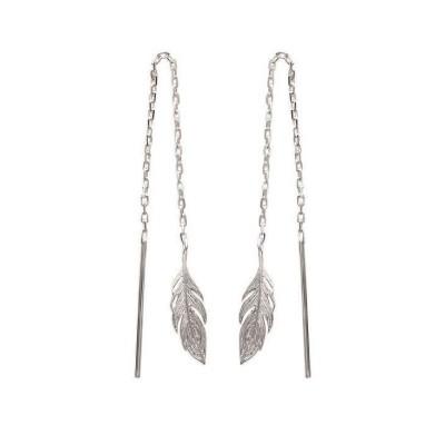 Chaînes d'oreille plume en argent pour femme - Bird - Lyn&Or Bijoux