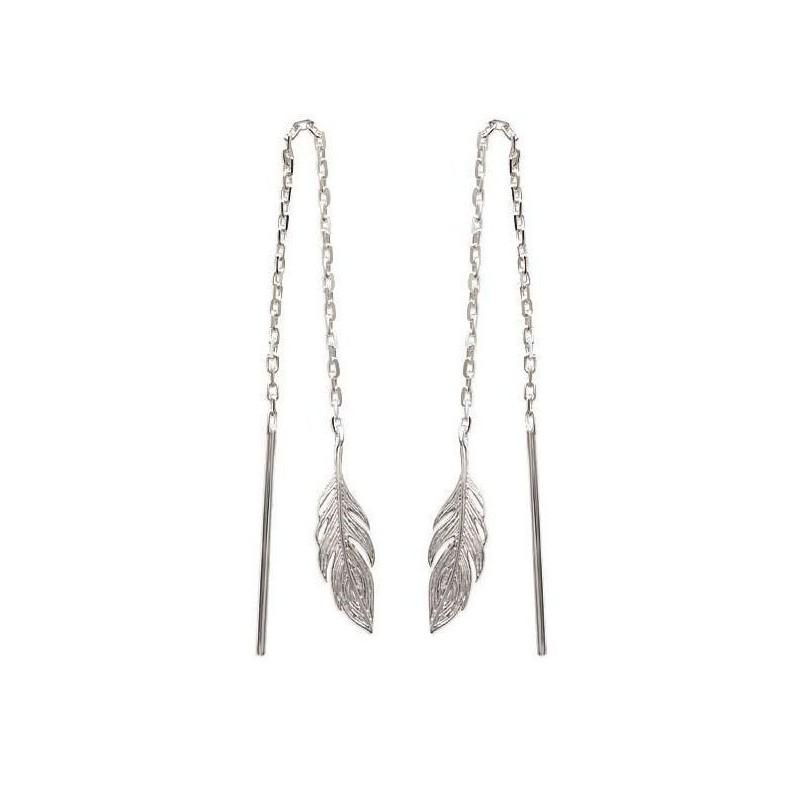 Chaînes d'oreilles plume en argent pour femme - Bird - Lyn&Or Bijoux