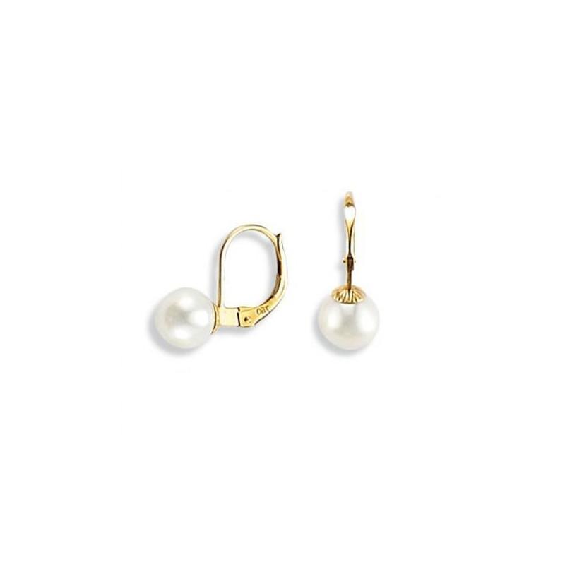 Boucles d'oreille dormeuses femme, or & Perle blanche 6 mm - Douceur - Lyn&Or Bijoux