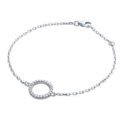 Bracelet argent et cercle en zirconium, Rive Gauche