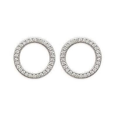 Boucles d'oreille femme, Cercle en Argent & Zircon- Rive Gauche - Lyn&Or Bijoux
