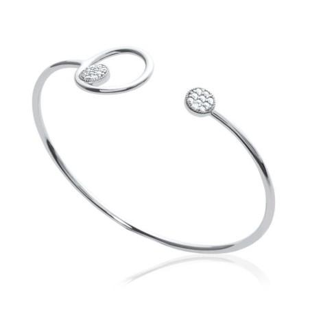 Bracelet jonc zirconium et argent - Imagine