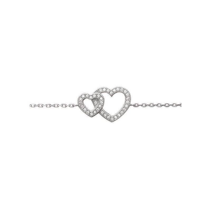 Bracelet coeur en argent et zircone, Elouana