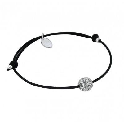 Bracelet Créateur argent et cordon noir - Sphère de cristaux blancs