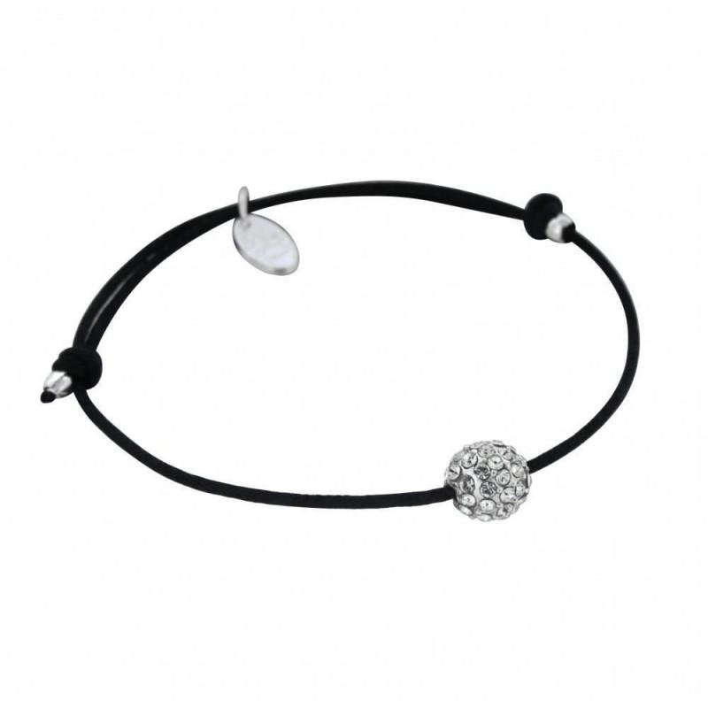 Bracelet Créateur, argent, cordon noir, Sphère de cristaux blancs
