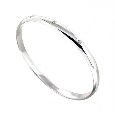 Bracelet Jonc argent, Swarovski pour femme - Pureté - Lyn&Or Bijoux