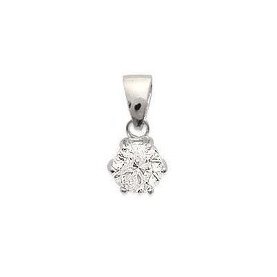 pendentif avec oxyde de zirconium solitaire et argent rhodié - Bijoux Femme