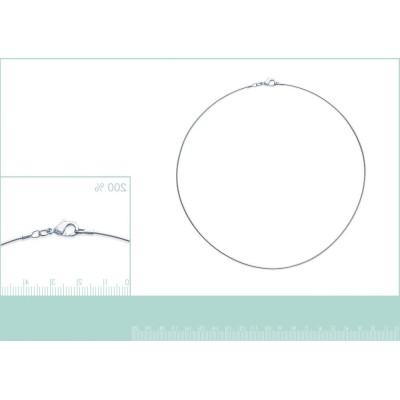 Collier câble en argent massif millièmes/1000 pour femme, 1 mm