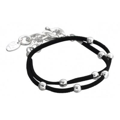 Bracelet Double Créateur en argent 925 et suédine noire, Univers