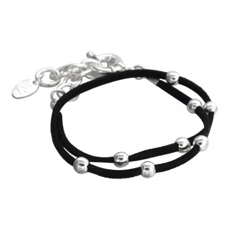 Bracelet argent, suédine noire LZB pour femme - Double Univers - Lyn&Or Bijoux