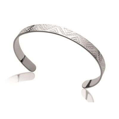 Bracelet rigide ouvert pour femme en argent rhodié 925, Ybela