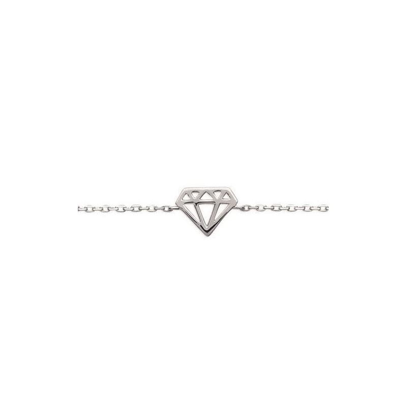 Bracelet femme en argent rhodié 925, Diamant