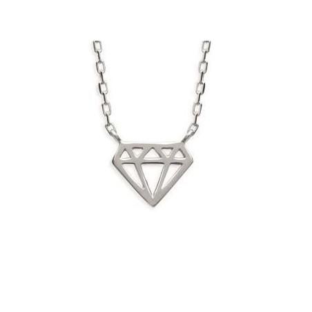 Collier pour femme en argent rhodié, Diamant